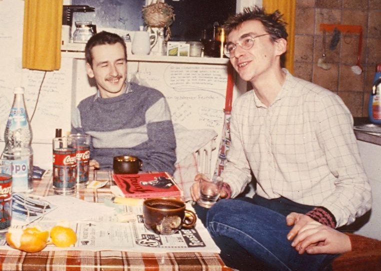 Christiane Hemmerich Thomas Bohnet Jürgen Geiger WG Gottfried-Keller-Straße cirka 1980 Foto Privatbesitz